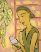 Девушка с птицей. 1994. 100х80 |х.м.|
