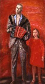 Прогулка с отцом. 1980. 169x91 |х.м.|