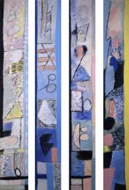 Путешествие вдоль берега /серия из 4 холстов/. 2001. 190x25
