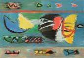 Корабли у причала и птицы над морем /триптих/. 55х240. 2007-2008 |х.м.|